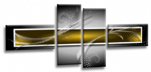 Abstract Canvas Wall Art Print Yellow Grey White Picture